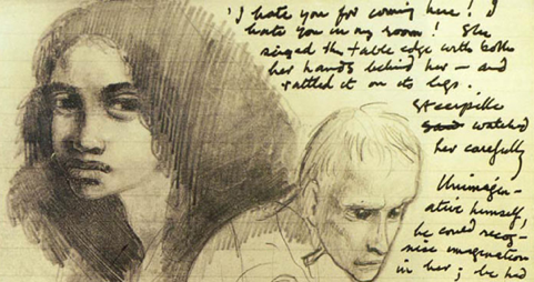 Mervyn Peake's own illustrations for the manuscript of Titus Groan